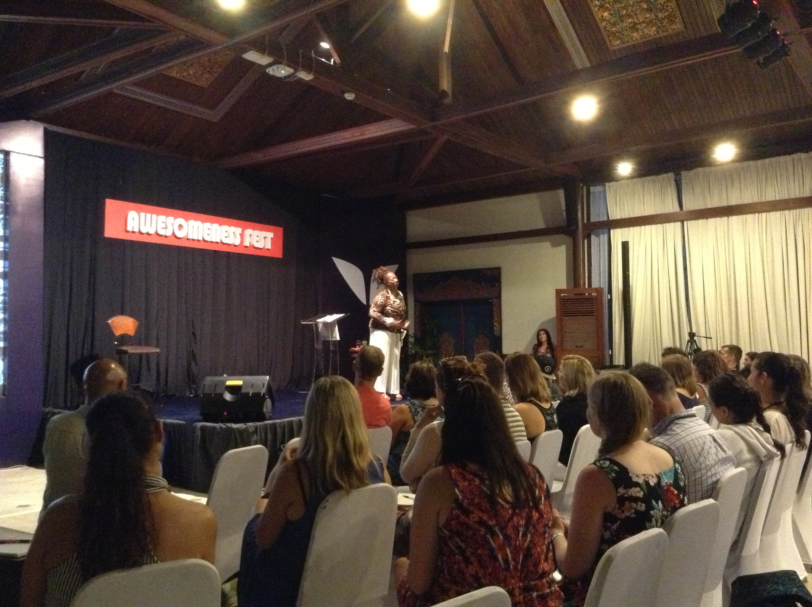Lisa Nichols on stage at Awesomeness Fest Bali 2013